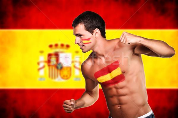 スペイン語 サッカー ファン 準備 戦う スペイン国旗 ストックフォト © deandrobot