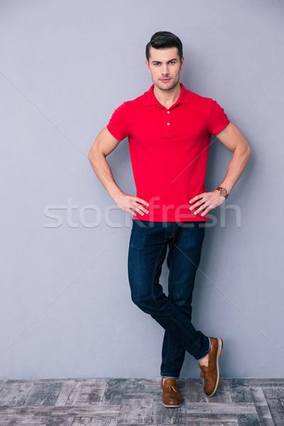 Retrato hombre guapo pie gris mirando Foto stock © deandrobot