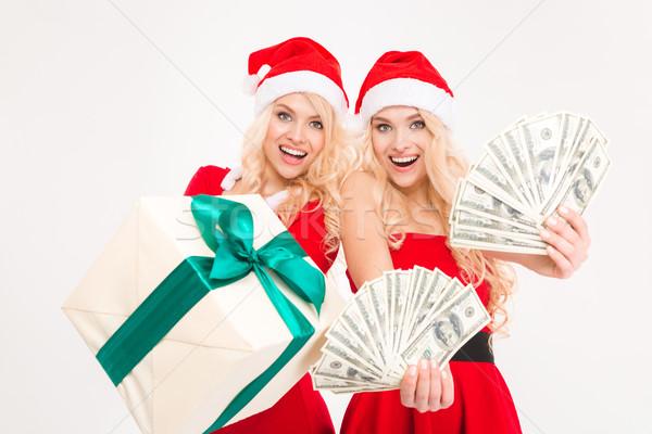 Izgatott gyönyörű nővérek ikrek mutat pénz Stock fotó © deandrobot