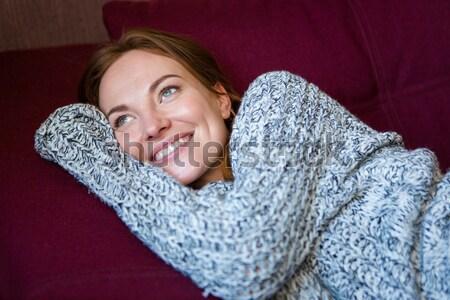 Közelkép portré aranyos bájos nő szürke Stock fotó © deandrobot