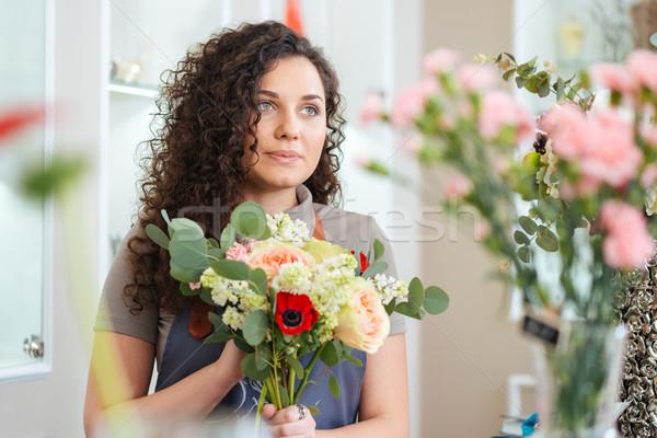 美しい 若い女性 花屋 立って 花屋 肖像 ストックフォト © deandrobot
