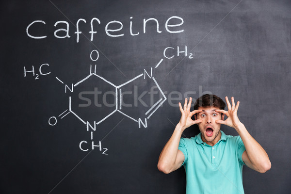 Funny crazy young professor of chemistry shouting over chalkboard background Stock photo © deandrobot
