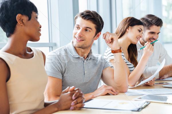 счастливым деловые люди говорить рабочих заседание служба Сток-фото © deandrobot