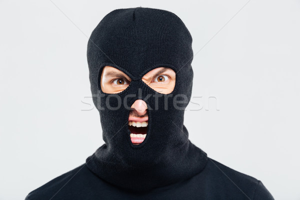 Portrait of mad furious man in balaclava Stock photo © deandrobot