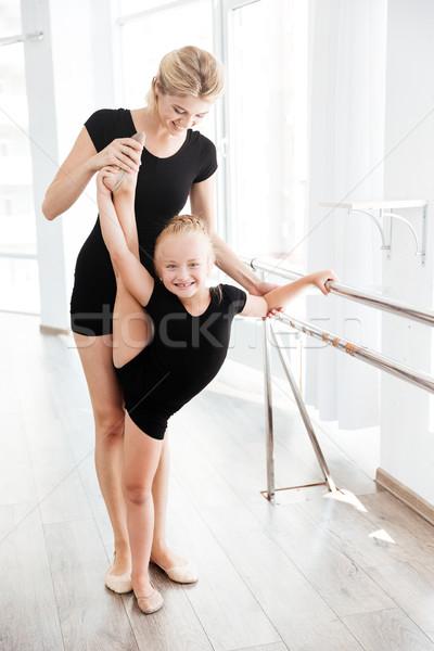 Foto stock: Bailarina · professor · pernas · balé · estúdio