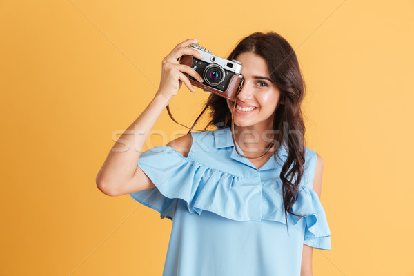 Stock foto: Lächelnde · Frau · blau · Kleid · Foto · Retro