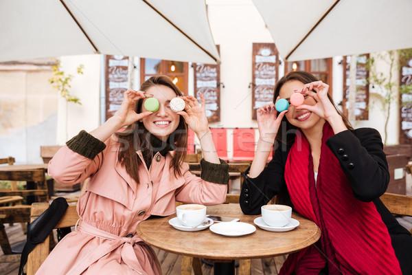 смешные моделях кафе macarons кофе город Сток-фото © deandrobot