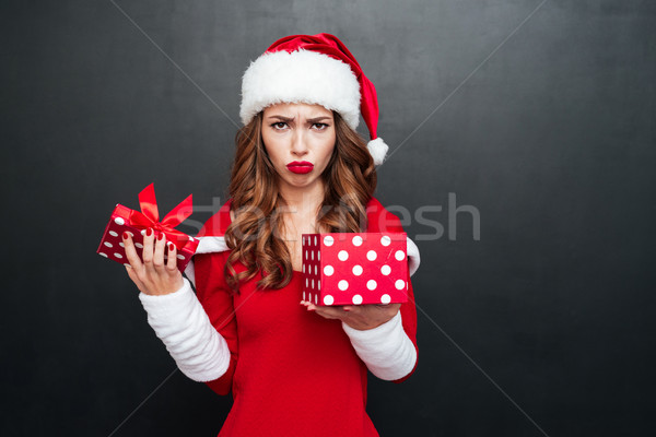 Disappointed woman in xmas outfit standing with open present box Stock photo © deandrobot