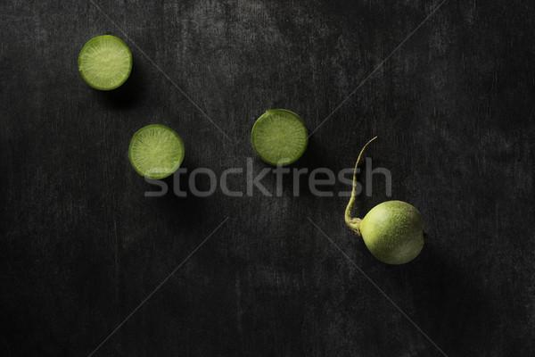 Felső kilátás kép vág retek sötét Stock fotó © deandrobot