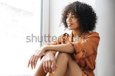 Kadın siyah iç çamaşırı ayakta pencere Stok fotoğraf © deandrobot