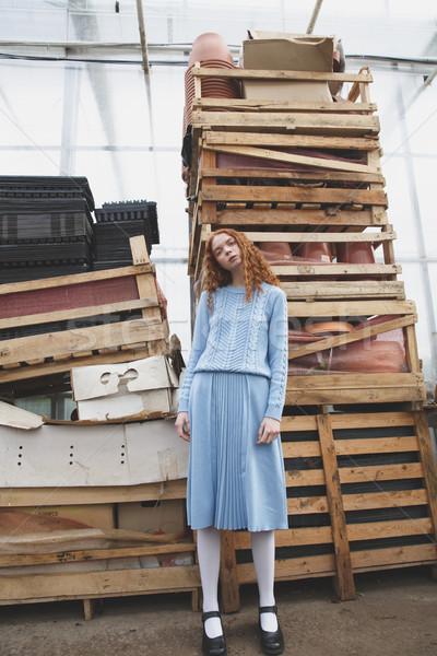 Girl near boxes in orangery Stock photo © deandrobot