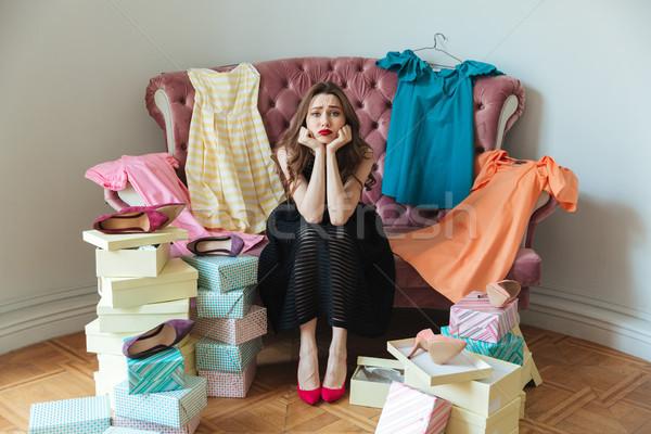 портрет устал исчерпанный девушки платье сидят Сток-фото © deandrobot