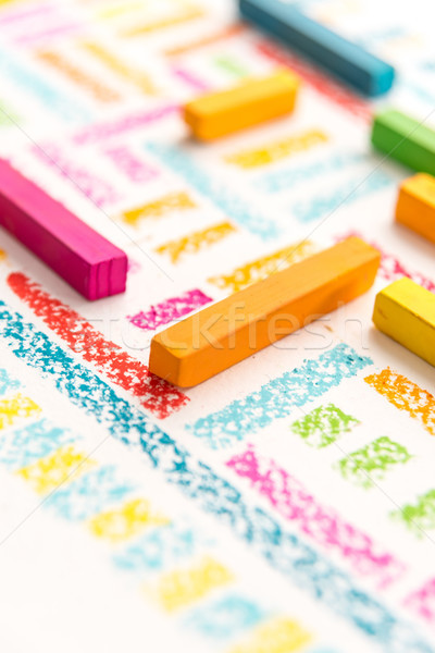 Cropped photo of pastels chalks on colorful background Stock photo © deandrobot