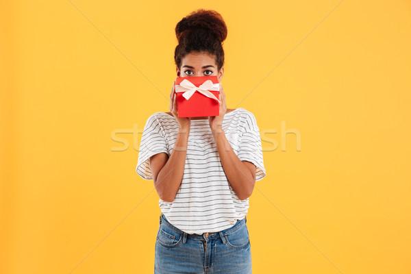 Bastante dama ocultación cara presente aislado Foto stock © deandrobot