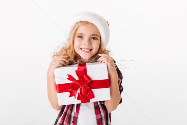 Retrato nina caja de regalo mirando cámara Foto stock © deandrobot