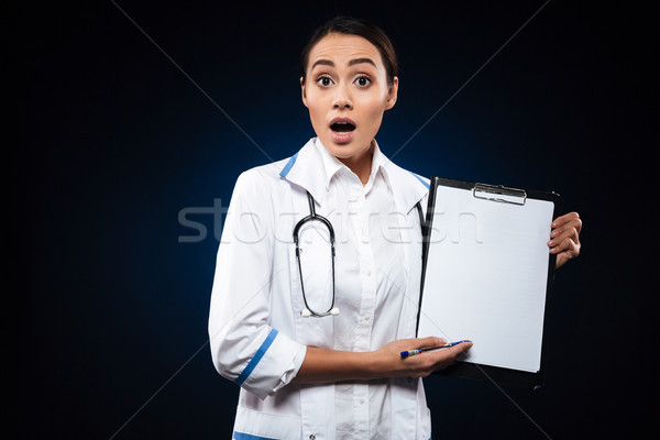 Shocked lady doctor in white medical gown showing blank folder isolated Stock photo © deandrobot