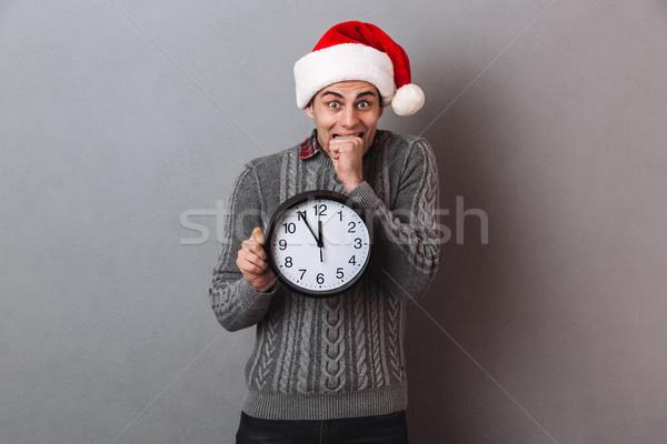 Młodych podniecony emocjonalny człowiek christmas Zdjęcia stock © deandrobot