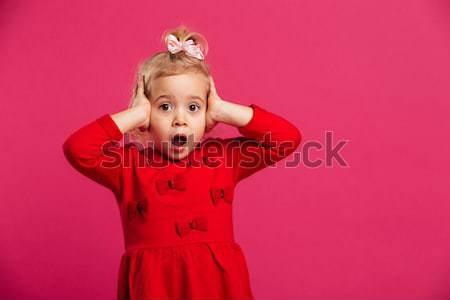 画像 若い女の子 赤いドレス 小さな ブロンド ストックフォト © deandrobot