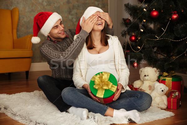 Stok fotoğraf: Mutlu · genç · hamile · kadın · koca · Noel