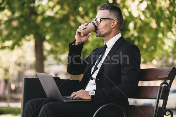 Portrait of a businessman dressed in formal clothes Stock photo © deandrobot