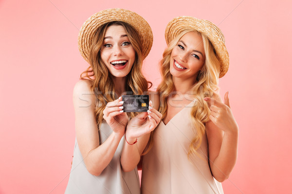 Portrait of two happy young women in summer clothes Stock photo © deandrobot