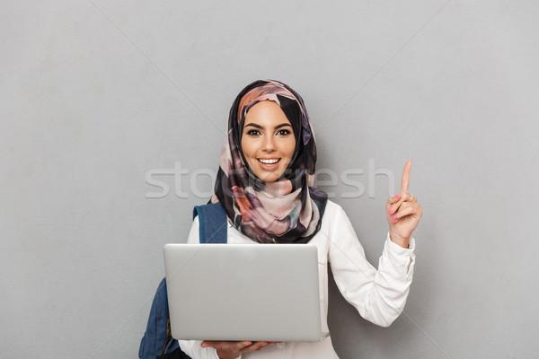 Portret uśmiechnięty młodych arabski portret kobiety kobieta Zdjęcia stock © deandrobot