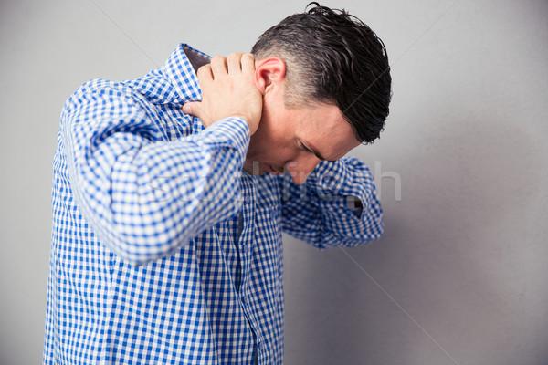 ストックフォト: 男 · 首の痛み · グレー · ビジネス · 医療 · 健康