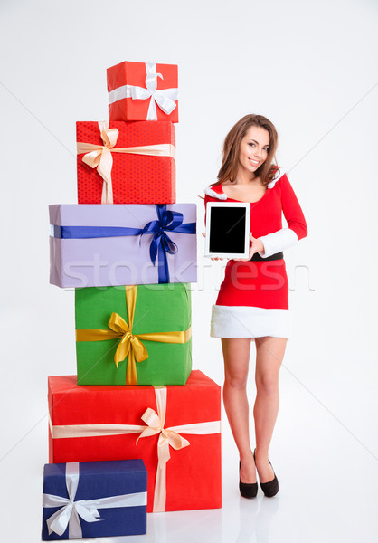 женщину Дед Мороз ткань экране компьютера Сток-фото © deandrobot