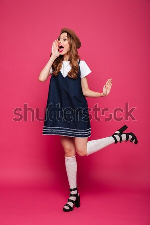 Charming girl posing with fake glasses and bow tie props  Stock photo © deandrobot