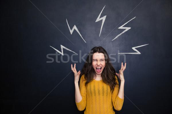 Dühös nő kiált rajzolt nagyfeszültség feliratok Stock fotó © deandrobot