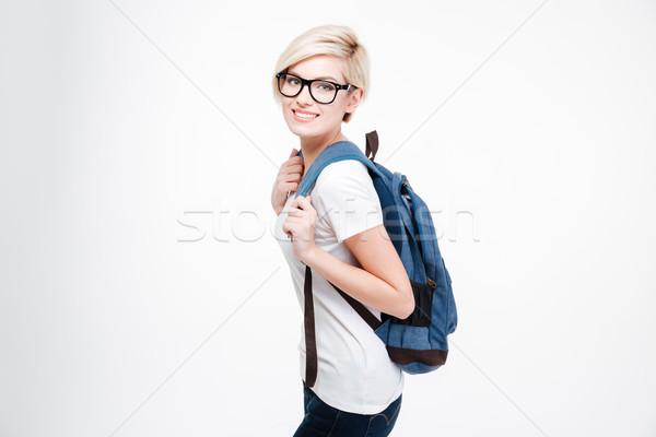 Happy cute female student  Stock photo © deandrobot