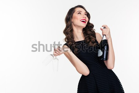 Attractive woman in bodysuit making selfie photo Stock photo © deandrobot