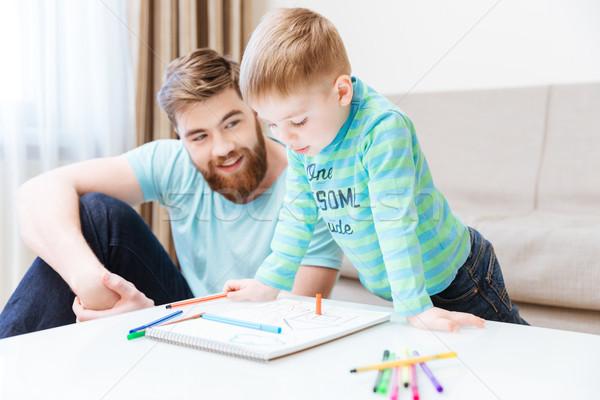 Photo stock: Heureux · peu · garçon · père · dessin · ensemble