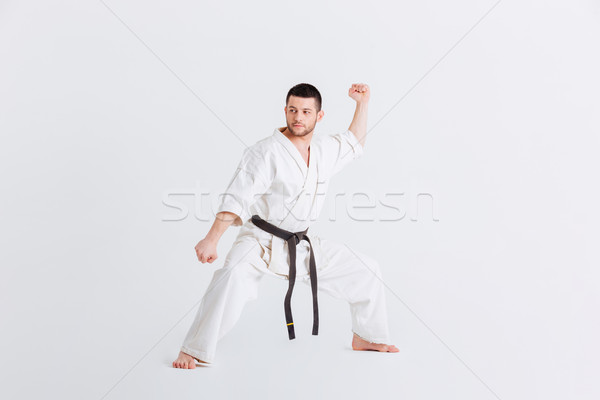 Male fighter standing in defensive stance Stock photo © deandrobot