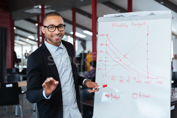 Zakenman presenteren budget flipchart smart business Stockfoto © deandrobot