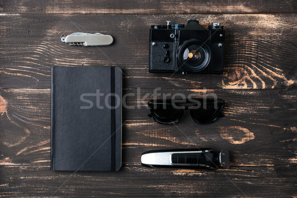 поездку столе пространстве мужчин Vintage Сток-фото © deandrobot
