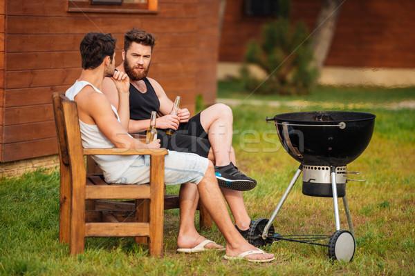二人の男性 話し バーベキューグリル 公園 2 若い男性 ストックフォト © deandrobot