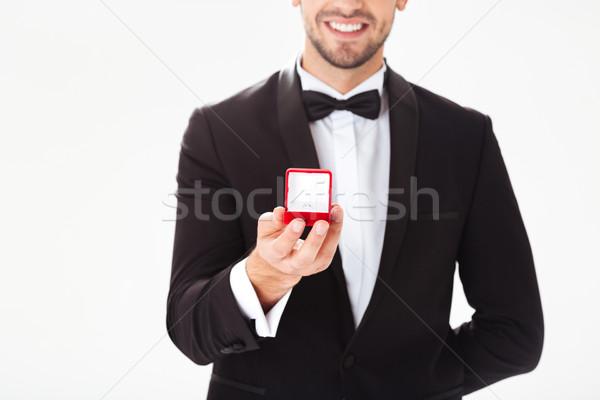 Stockfoto: Portret · schoonheid · bruidegom · ring · bruiloft · mannelijke
