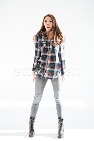 Full length of amazed attractive young woman standing and posing Stock photo © deandrobot