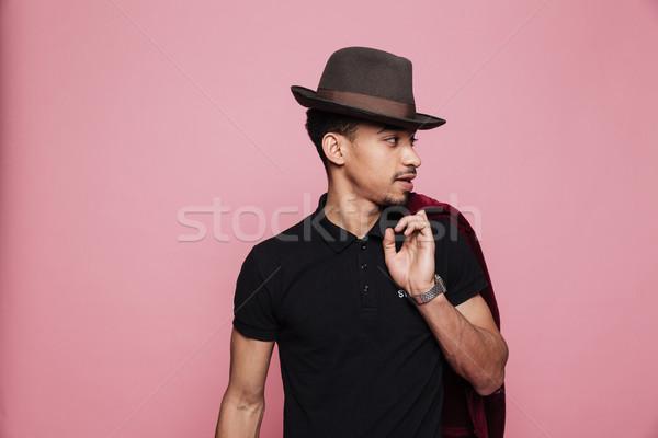 Gut aussehend afro Mann hat halten Stock foto © deandrobot