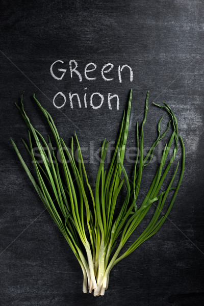 Photo of green onion over dark chalkboard background. Stock photo © deandrobot