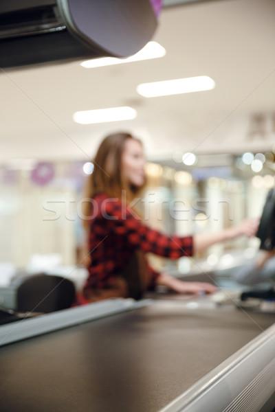 Lady кассир workspace супермаркета магазин расплывчатый Сток-фото © deandrobot