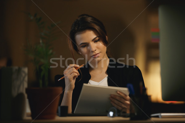 Woman thinking about new design Stock photo © deandrobot