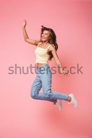 Shot vrolijk vrouw telefoon geïsoleerd Stockfoto © deandrobot