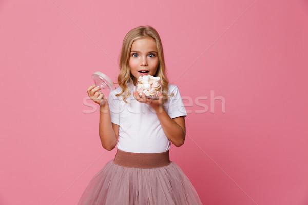 肖像 興奮した 女の子 jarファイル マシュマロ ストックフォト © deandrobot