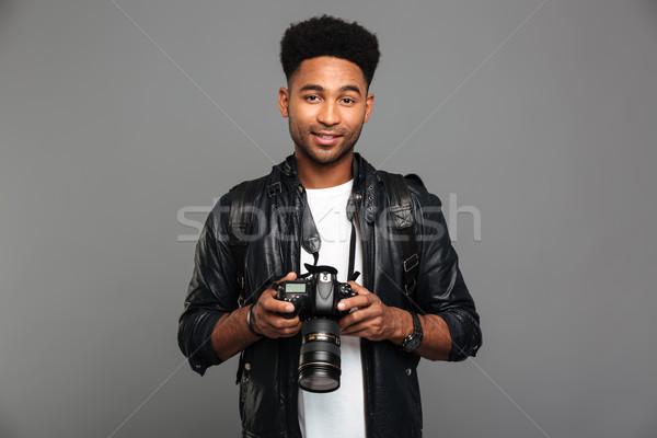 Jungen anziehend lächelnd afro Mann Stock foto © deandrobot