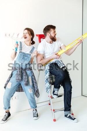 Twee gelukkig meisjes winkelwagen megafoon Stockfoto © deandrobot
