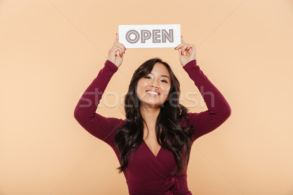 Picture of beautiful woman in maroon dress holding sign with wor Stock photo © deandrobot