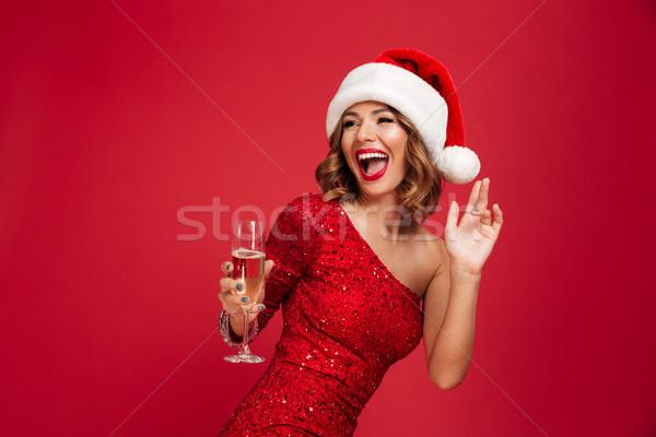 Retrato alegre riendo mujer Navidad sombrero Foto stock © deandrobot