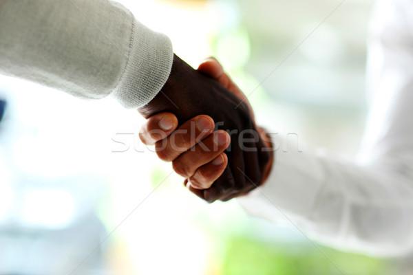 Közelkép üzletemberek kézfogás kaukázusi üzlet kezek Stock fotó © deandrobot